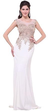 5297f534dc07d Meier Women's Embroidery Rhinestone Long Formal Evening Prom Dresses 4207  Ivory 4