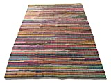Colorful Rugs Eco friendly 100% recycled cotton colorful chindi area rug - 5'X7'