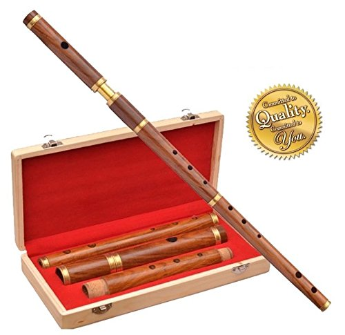 Traditional Irish D Flute Shesmwood Natural Finish +Wooden Hard Case/D Flute by Clan Tartan