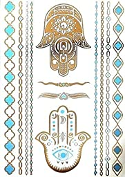 Metallic Temporary Tattoos 6 Sheets + Beautiful Body Paint Henna Tattoo Designs