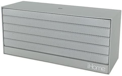 Silver iHome IBN27SX NFC Bluetooth Rechargeable Stereo Mini Speaker in Rubberized Finish