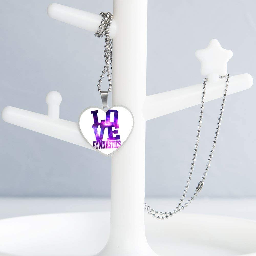 Love Gymnastics Necklace Personalized Engraved Heart Custom Gift Pendant-Valentines Day Love