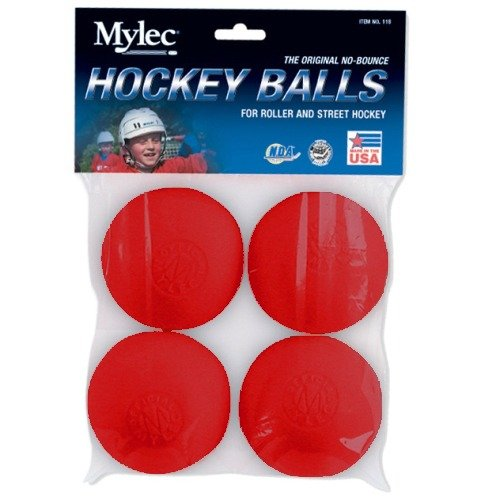 Mylec Red Hot Roller Hockey Balls- 4 Pack