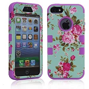 RASK Durable 3in1 Hybrid High Impact Hard Floral RASK Silicone Armor Case Cover For Apple iPhone 5 5S Purple