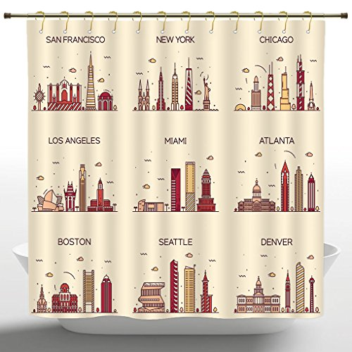 iPrint Artistical Shower Curtain by, Apartment Decor Collection, American Cities San Francisco New York Chicago Los Angeles Miami Silhouette Print,Cream Coral