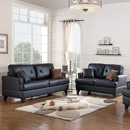 Benzara BM168705 Leather Modish Sofa with Loveseat and Cushions, Black