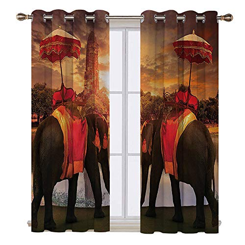 SATVSHOP Windows Curtains Living Room 2 Panel - 120W x 72L Inch-Blackout Draperies for Bedroom.Home Elephants Dr Sing Traditional Costum Standing in Front of Pagoda Patience Sage Symbol -