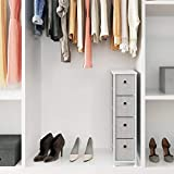 """SONGMICS Narrow Dresser, Vertical Storage Unit with 4 Fabric Drawers, Metal Frame, Slim Storage Tower, 7.9"""" Width, for Living Room, Kitchen, Small Space, Gap, Light Gray, ULTS04NW"""