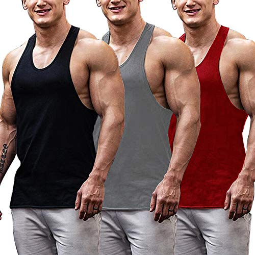 - COOFANDY Men's 3 Pack Gym Tank Tops Y-Back Workout Muscle Tee Fitness Bodybuilding T Shirts
