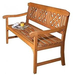 3plazas banco de jardín de madera. Este muebles de jardín tradicional ha sido diseñado de calidad resistente a la intemperie de madera de eucalipto con accesorios de latón.