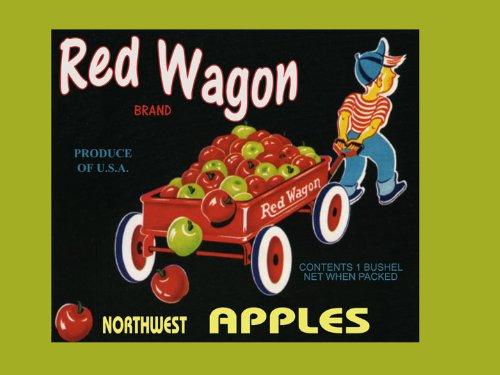 CANVAS Boy Red Wagon Northwest Apples Produce in America USA Fruit Crate Label Vintage Poster Repro 12