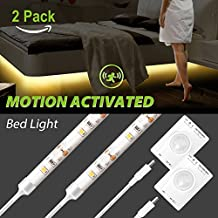 Motion Activated LED Strip Light, Megulla Motion Sensor Night Light-USB Rechargeable Battery, Stick Anywhere, Automatic Shut Off Timer- for Under Cabinet, Closets and Wall Shelves (Warm White, 2Pack)