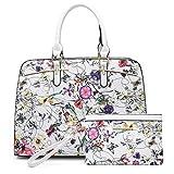 Dasein Women Satchel Handbag Shoulder Purse Top Handle Work Bag Tote Bag With Matching Wallet (White Floral)