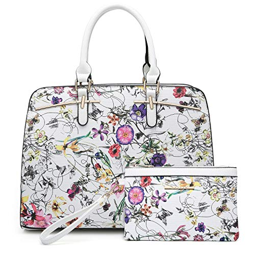 (Women Handbags Satchel Purses Top Handle Work Bag Briefcases Tote Bag With Matching Wallet (1-White Flower))