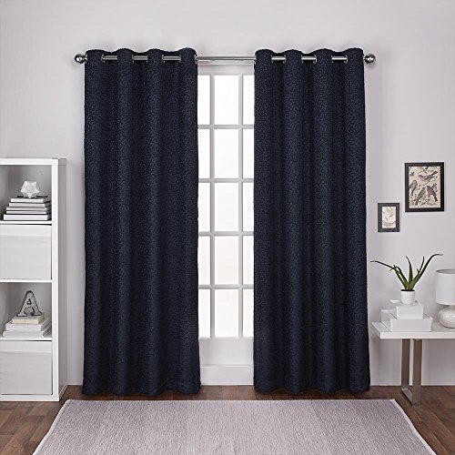 Exclusive Home Curtains Criss Cross Chenille Eyelash Room Darkening Grommet Top Window Curtain Panel Pair, Navy, 54x84
