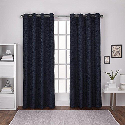 Exclusive Home Curtains Criss Cross Chenille Eyelash Room Darkening Grommet Top Window Curtain Panel Pair, Navy, 54x84