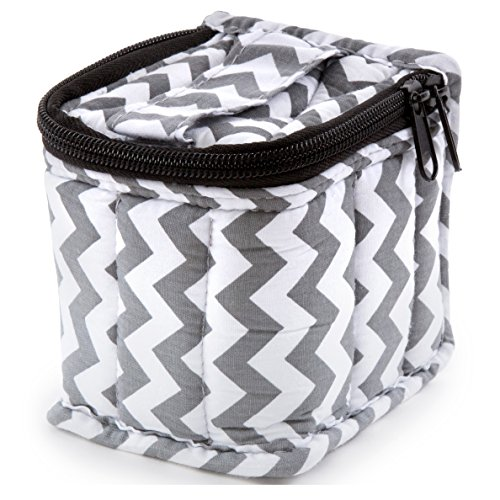 """UPC 680912003674, Plant Therapy Soft Essential Oils Carrying Case. 9-bottle 10 ml or 10 ml Roll Ons - 4""""x3""""x3"""" - Chevron / Grey"""