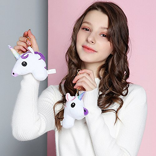 "hot sale Aswcowy 2 pcs 6"" Unicorn Stuffed Toy Keychain Bag Charm Car Cell Phone Decor Ornament Gifts for Her"
