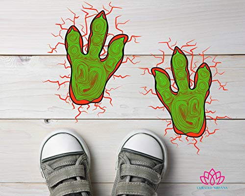 Curated Nirvana Dinosaur Footprints with Lava Cracks Floor Decal Clings   1 Dozen Pack   8 x 6.25 Vinyl Stickers   Great for Childrens Birthday and Halloween -