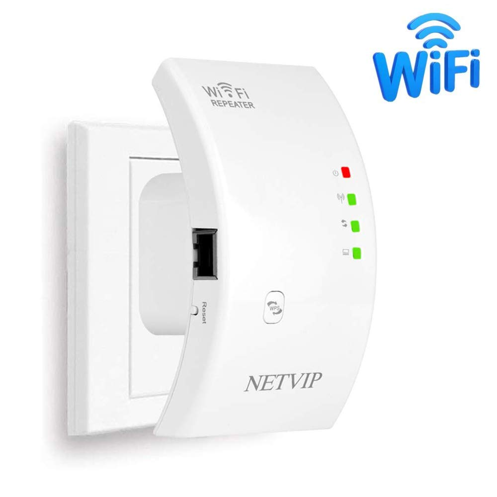WiFi Range Extender Signal Booster 300mbps Wireless Repeater with Internal Antennas for Boosted Internet, 360 Degree Full Coverage Extender Booster, Easy Set-Up Comply with 802.11 b/g/n for Any Router by NETVIP