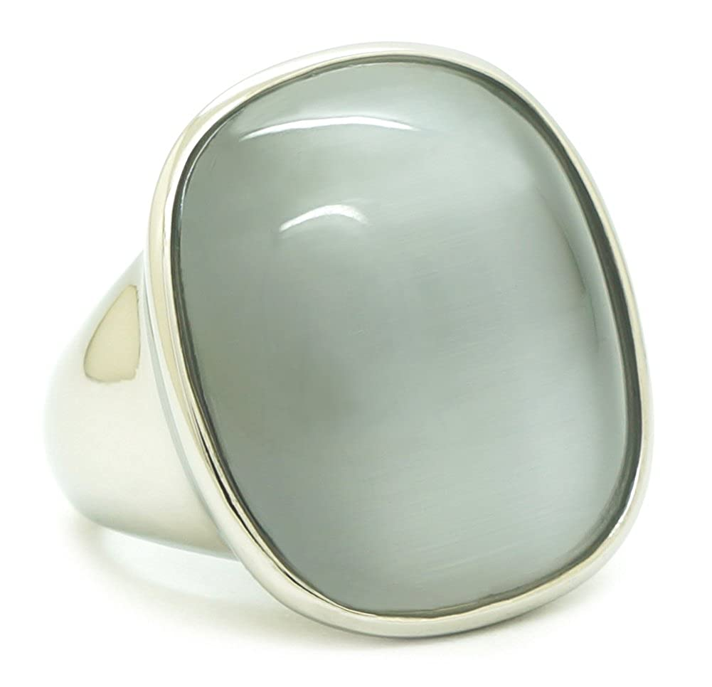 Bijoux Julie Womens Stainless Steel Polished Silver Finish Fashion Ring with Fantastic Gray-Silver Dome Gemstone