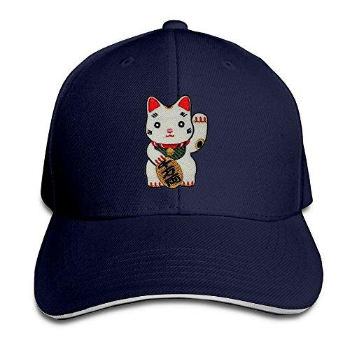 Cute Maneki-Neko Japan Japanese Lucky Cat Unisex Embroidery Adjustable Baseball Caps (Maneki Neko Costume)