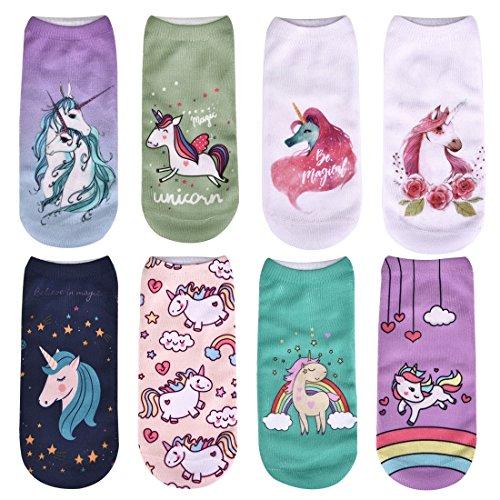Womens Girls Happy Rainbow Unicorn Socks Short Print Socks B 8 Pairs -
