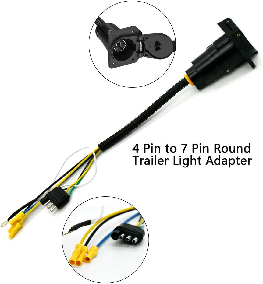 Super repairman 7 Way Round Trailer Connector to 4 Way Flat Truck Reverse Plug with Mounting Bracket