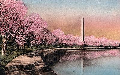 Washington DC - Cherry Blossom View of Washington Monument - Vintage Halftone (12x18 Fine Art Print, Home Wall Decor Artwork Poster)