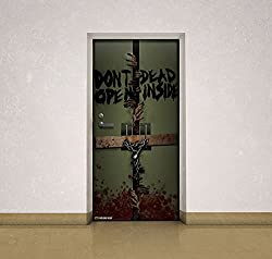Walking Dead Dead Inside Self-Adhesive Door Cling - Trim To Size Fits Standard Size Doors - 36 x 72