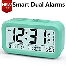 Electric Alarm Clocks for Heavy Sleepers,Easy to Set Alarm Clock,Low Light Sensor Technology, Soft Backlight with Dimmer, Digital Office Home Alarm Clock for Teens or Kids Green