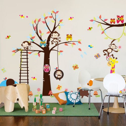 Large Animals Monkey Owl Tree Removable Wall Sticker Home Decor Decal Kid Room Giraffe Elephant Birds Art Vinyl Stickers Mural PVC DIY Bedroom Decoration (A 50)
