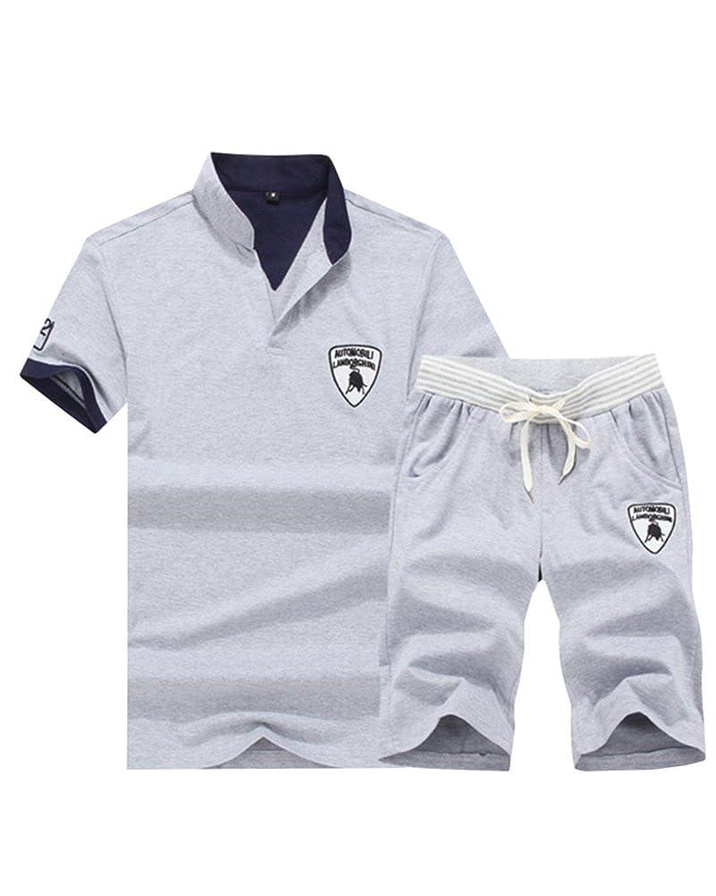 DianShao Uomo Sportivi Casuale Maglietta Stampato Manica Corta Pantaloni Corta 2 Pezzi Tuta Set