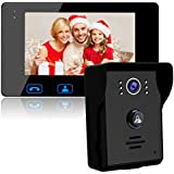 Video Door Phone Doorbell Wires Video Intercom Monitor 7 Wired Door Bell Home Security System with Night Vision and Push Button HD Camera