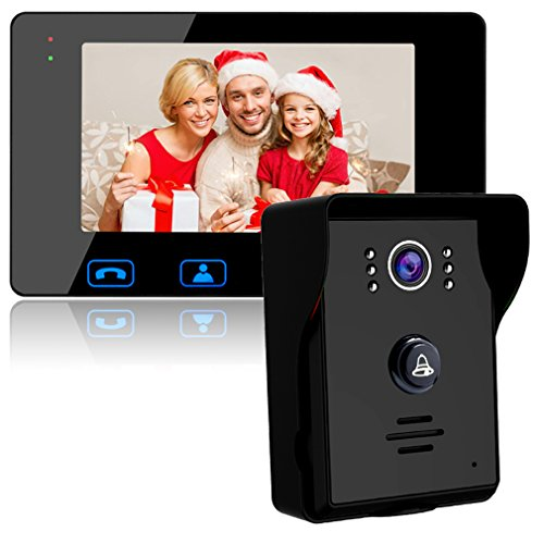 "Video Door Phone Doorbell Wires Video Intercom Monitor 7"" Wired Door Bell Home Security System with Night Vision and Push Button HD Camera"