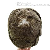 Human Hair Mens Toupee French Lace Front Natural