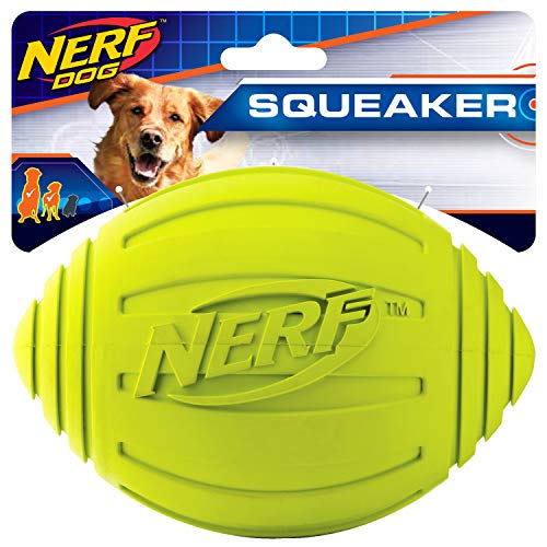 Nerf Dog Squeak Ridged Rubber Football Dog Toy, Medium/Large, Green 7 inches