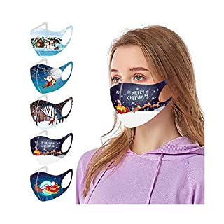 5PC Face_Mask for Adults Reusable Washable Face Bandanas with Elastic Earloops for Women Men Halloween Christmas Daily Use