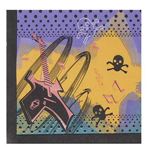 Star Beverage Napkins Rock - Cocktail Napkins - 150-Pack Luncheon Napkins, Disposable Paper Napkins Kids Birthday Party Supplies, 2-Ply, Rock Star Design, Unfolded 13 x 13 Inches, Folded 6.5 x 6.5 Inches