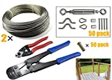 Muzata50 Pack Heavy Duty Stainless Steel Cable Railing Kits with 2 of 164Feet Wire Rope Cable, Cable Cutter, Hand Crimper Tool and 50PACK Protector Sleeves for 1/8'' Cable Railing, A full Set