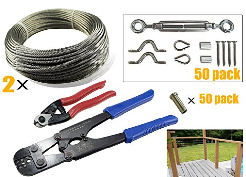 Muzata50 Pack Heavy Duty Stainless Steel Cable Railing Kits with 2 of 164Feet Wire Rope Cable, Cable Cutter, Hand Crimper Tool and 50PACK Protector Sleeves for 1/8