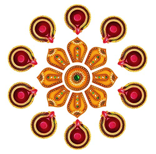 Ramya Exclusive Combo of Handcrafted Vibrant Rangoli with a Set of 10 Handpainted Clay Diyas/Oil Lamps - Ideal for Diwali/Christmas/Festival Decoration and Gifting (7282BY)