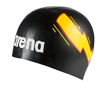 55d2bd7f453 arena Poolish Moulded Swim Cap, Thunder Black/Yellow, Sports ...