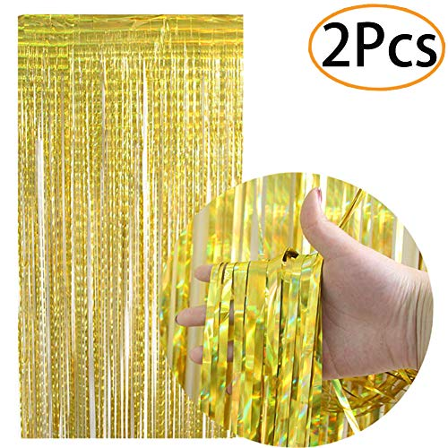 2Pcs Foil Fringe Curtain Metallic Photo Booth Props Backdrop Tinsel Door Window Hanging Curtain for Birthday Wedding Bridal Shower Baby Shower Graduation Party Decorations(Gold)