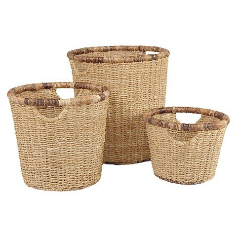 Metro Round Seagrass with Abaca Rim Storage Basket. A Set of 3 Natural Hand Woven High Quality Sturdy Baskets with Handles for Easy Transport. Ideal for Home & Office - Hand Woven Oval Basket