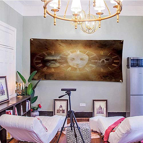 sunsunshine PsychedelicDormitory Tapestry Gothic Spooky Birth Life Death Mask and Skull Baby Face Sacred Artwork DesignBedroom Tapestry 91W x 60L InchTan Golden