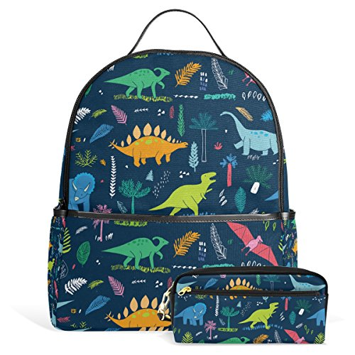 Puppet Costume T-rex (Cute Cartoon Dinosaur Pattern Print Unisex Rucksack Canvas Satchel Casual Daypack ,School College Student Backpack with Pencil)
