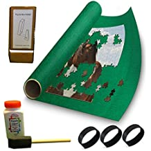 """Puzzle Buddy - Jigsaw Puzzle Roll Up Puzzle Mat - Felt Puzzle Storage Mat Comes with a Puzzle Box Stand - 100% Made in the USA - (54"""" x 35"""") - Fits up to 3000 pieces - with Puzzle Glue Kit"""