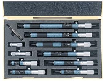 Mitutoyo 133-902 Tubular Vernier Inside Micrometer, 50-300mm Range, 0.01mm Graduation, +/-0.006mm Accuracy (10 Piece Set)