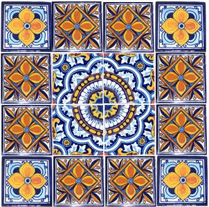 16 Hand Painted Talavera Mexican Tiles - Ceramic Tiles Hand Painted 16